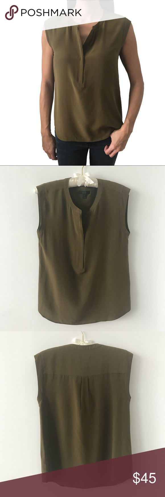 a00d28799024cc J. Crew Silk Zip Tank Top Olive Green Popover shirt in olive color by J