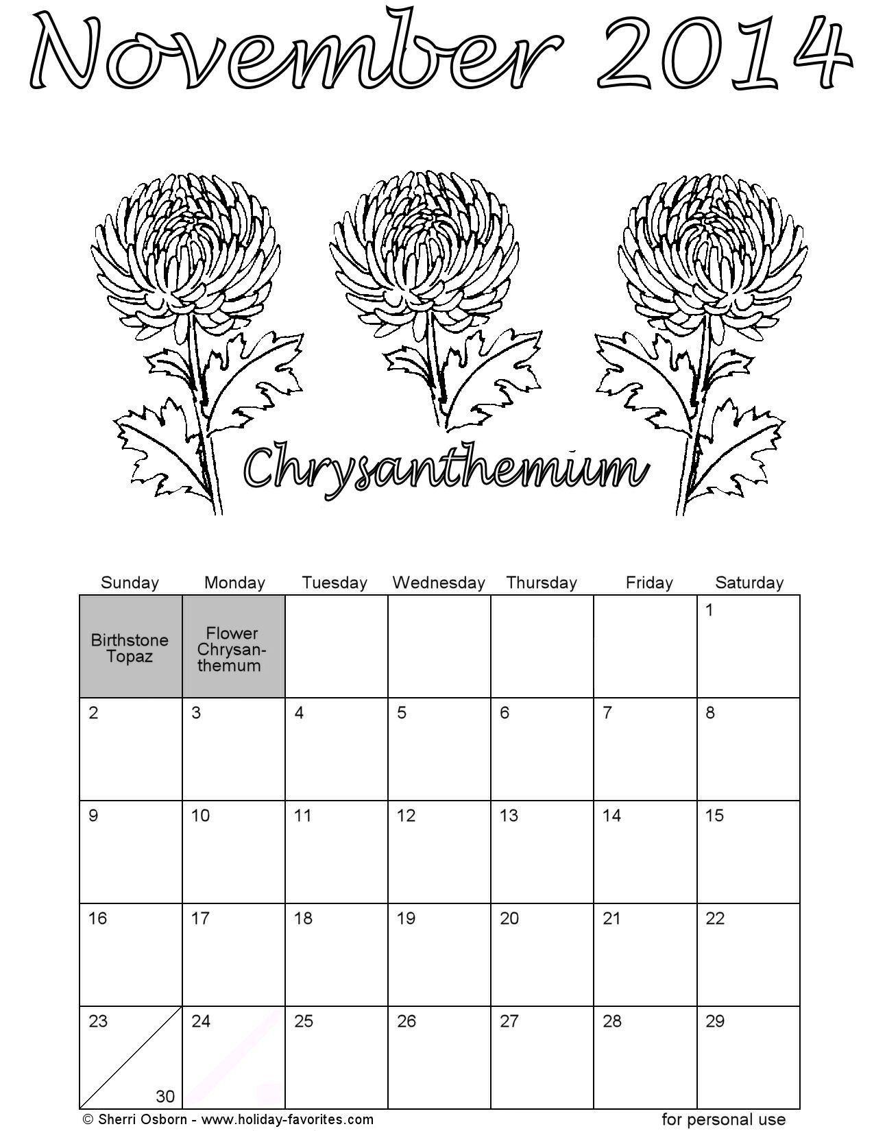 november 2014 flower coloring calendar page