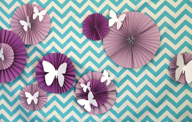 Chevron fabric and paper rosettes backdrop