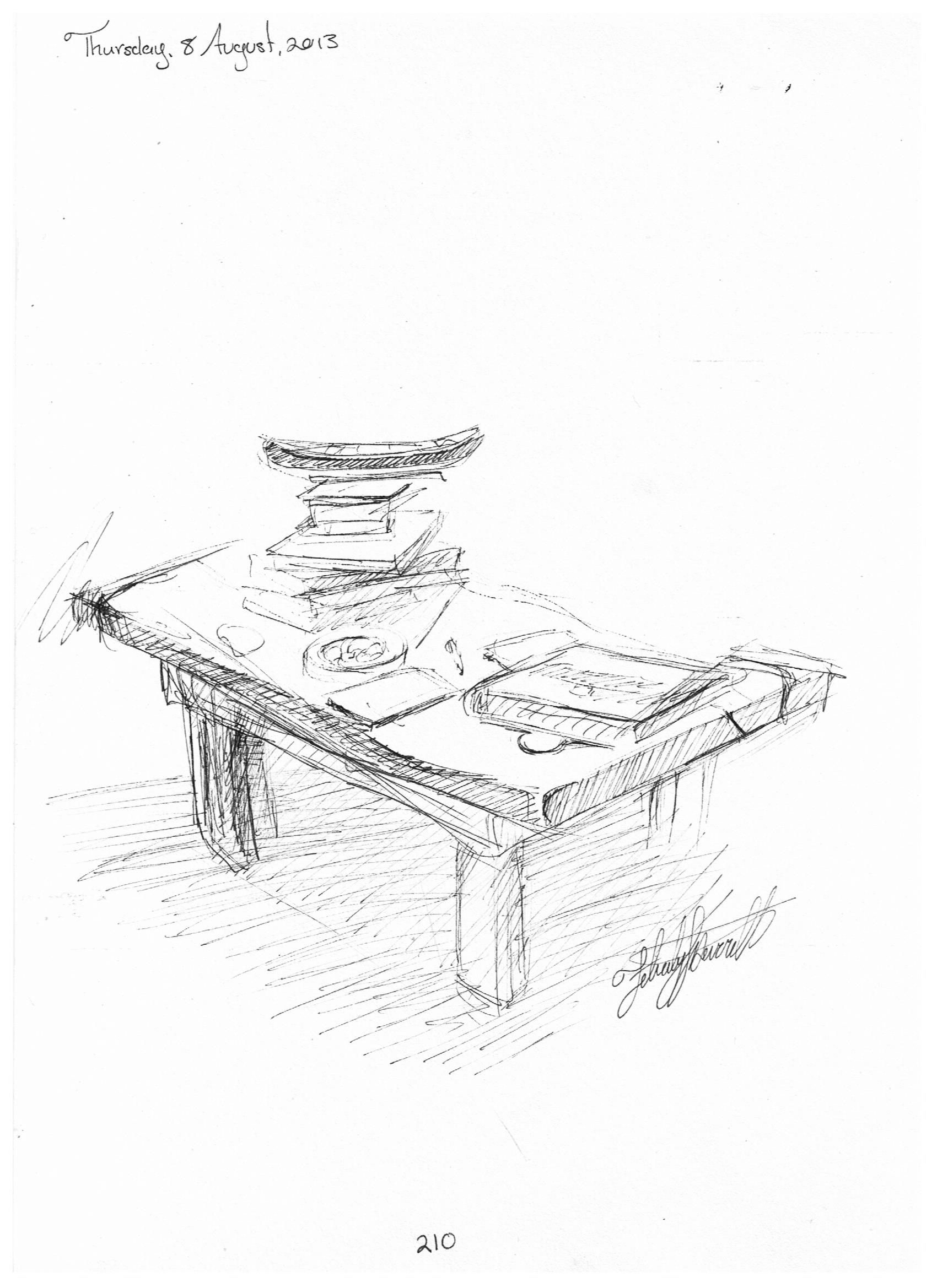 210 Wooden Coffee Table Sketch