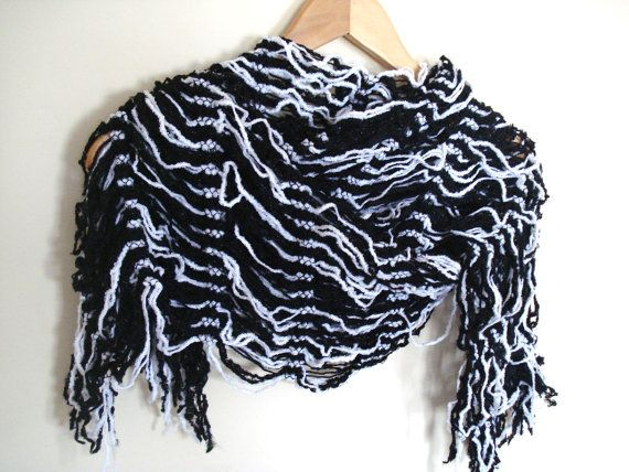 Black and White Scarfcolorful women shawl soft warm by bypasha, $14.00