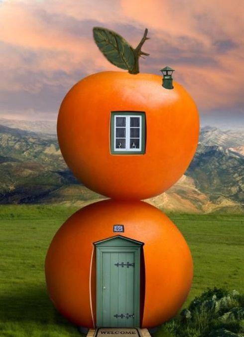 adorable casa de naranja