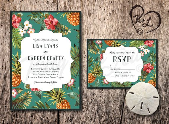 Printable Retro Hawaiian Wedding Invitation Hawaii Miami Tommy Bahama Inspired Tropical Hibiscus Pinele Digital Beach Theme