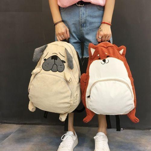 Women Girls Pink Backpack Corgi Pug Print Schoolbag Shoulder Satchel Daypacks