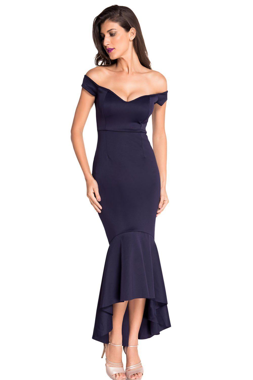 EnlaChic Women\'s Off-shoulder Mermaid Jersey Maxi Evening Dress,Navy ...