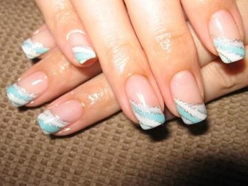 striped baby blue silver white tips  colorful nail
