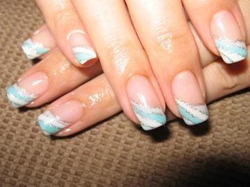striped baby blue silver white