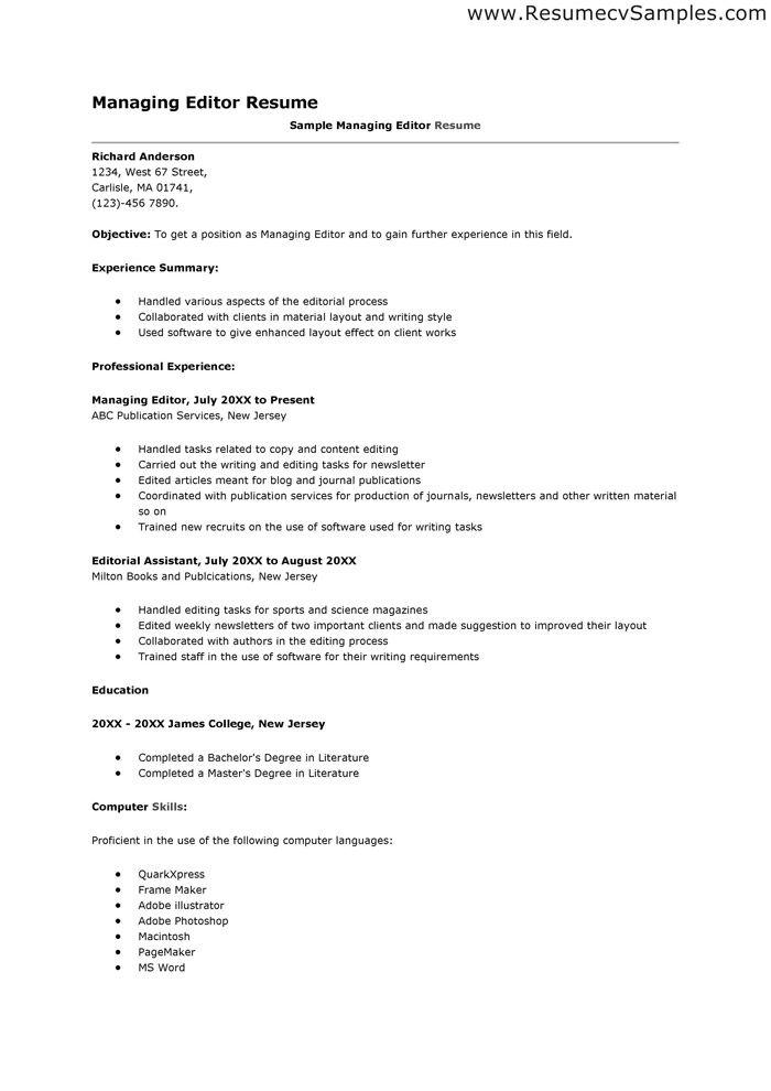 managing editor resume httpwwwresumecareerinfomanaging assistant editor - Assistant Editor Resume