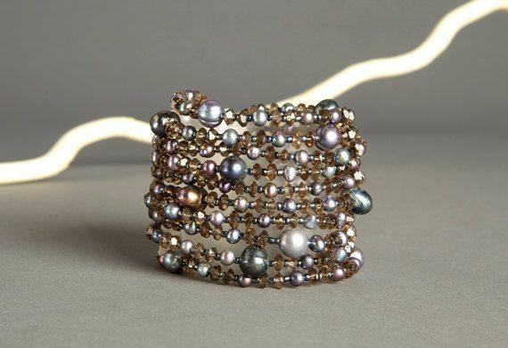 Grey and Purple Multi Strand Beaded Bracelet  8 by AmphaiJewelry