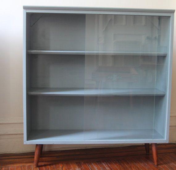 Vintage Slate Blue Bookshelf Cabinet With Sliding Glass Doors