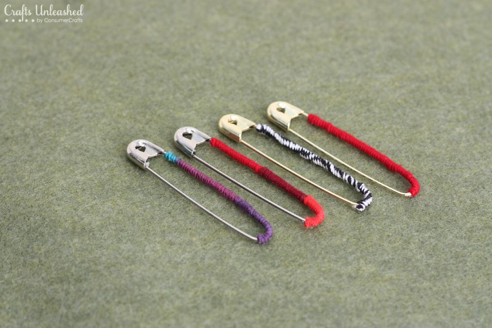 Safety pin craft idea thread wrapped pins with eclectic for Safety pins for crafts