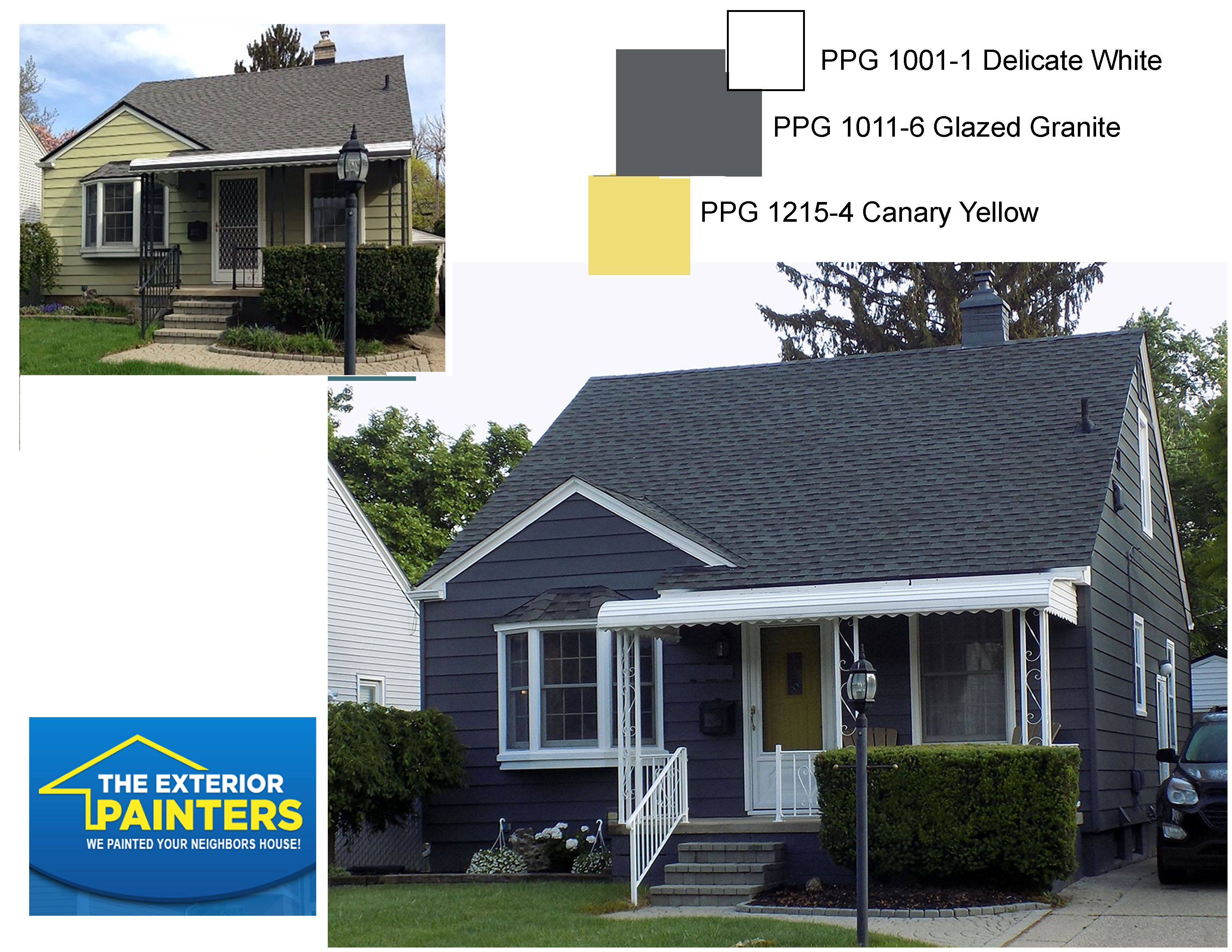 PPG Glazed Granite for siding. PPG Delicate White for trim. PPG Canary Yellow for the front door. & PPG 1011-6 Glazed Granite for siding. PPG 1001-1 Delicate White ... Pezcame.Com