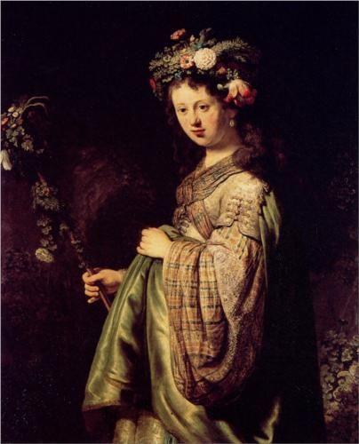 Saskia as Flora, 1634 (oil on canvas) - Rembrandt----------SASKIA ....que de retratos de amor de ella.............