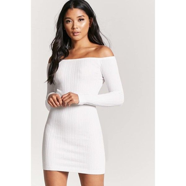 Forever21 Ribbed Off The Shoulder Mini Dress 20 Liked On Polyvore Featuring Dresses Cream Lon White Long Sleeve Dress Mini Dress Long Sleeve Short Dress
