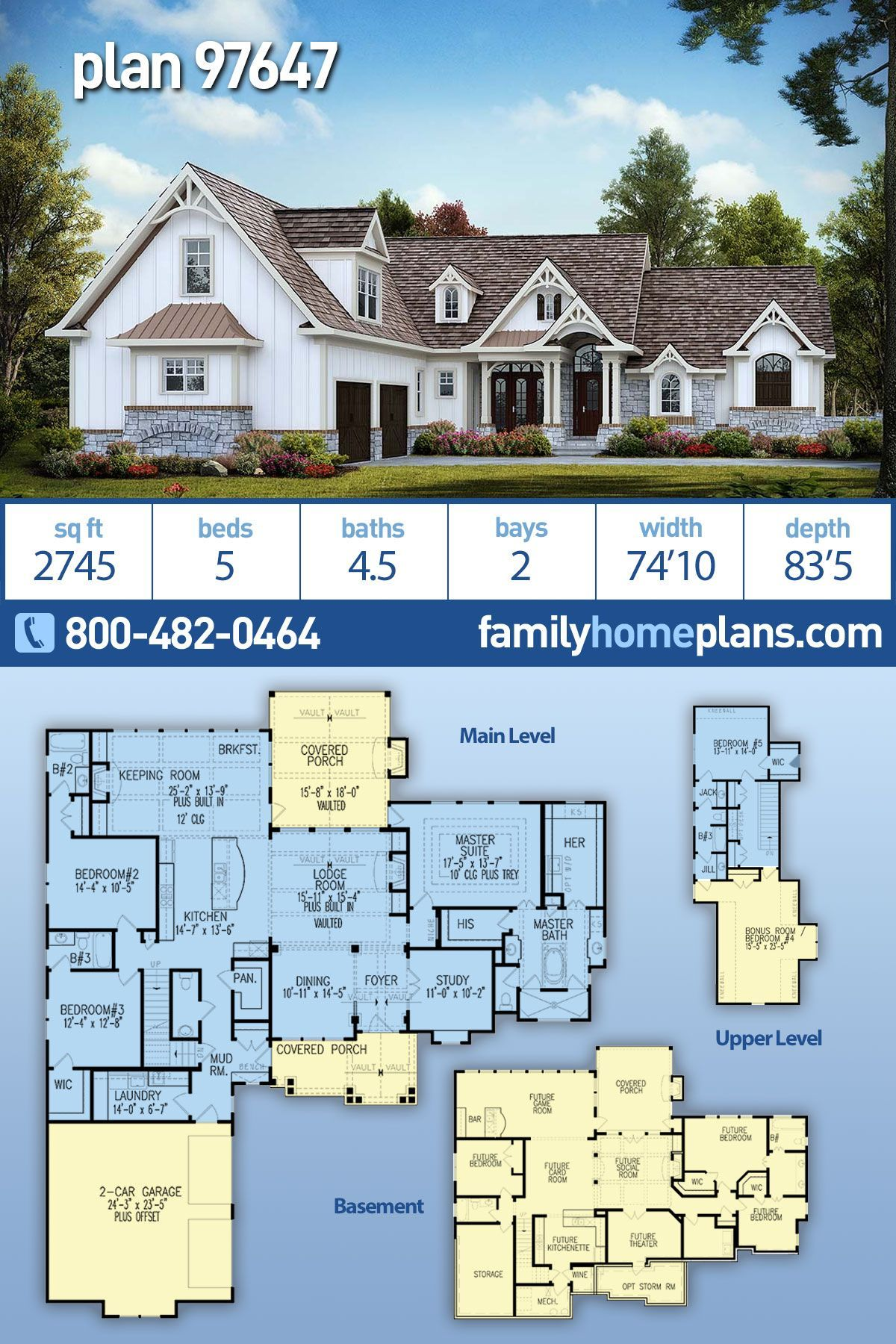 Craftsman Style House Plan 97647 With 5 Bed 5 Bath 2 Car Garage In 2020 Craftsman Style House Plans Craftsman House Plans Basement House Plans