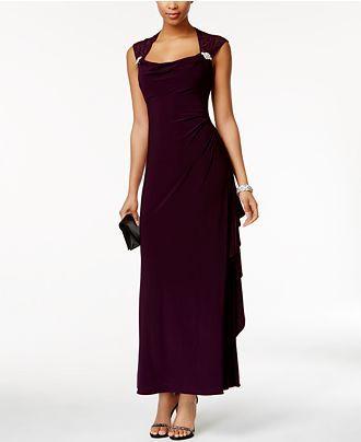 R & M Richards Petite Lace-Trim Cutout-Back Gown - Juniors Shop All Prom Dresses - Macy's
