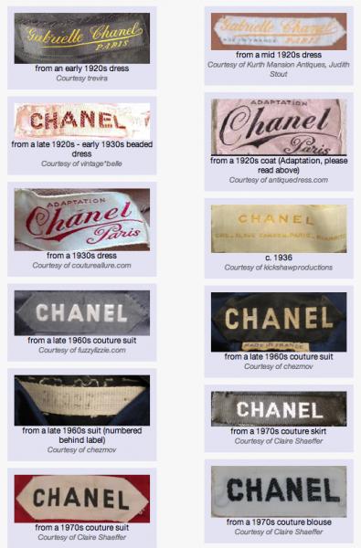 Chanel Tag Evolution Vintage Tags Clothing Labels Clothing Labels Design