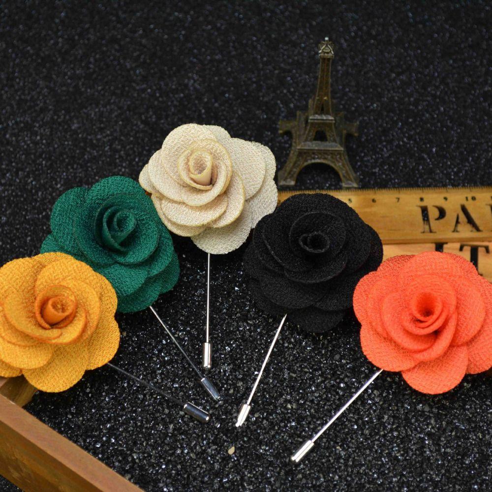 Mens jacket brooch - 2016 Fashion Brooch Flower For Men Suit Floral Lapel Pin Of Multilayer Handmade Fabric Brooch Wedding