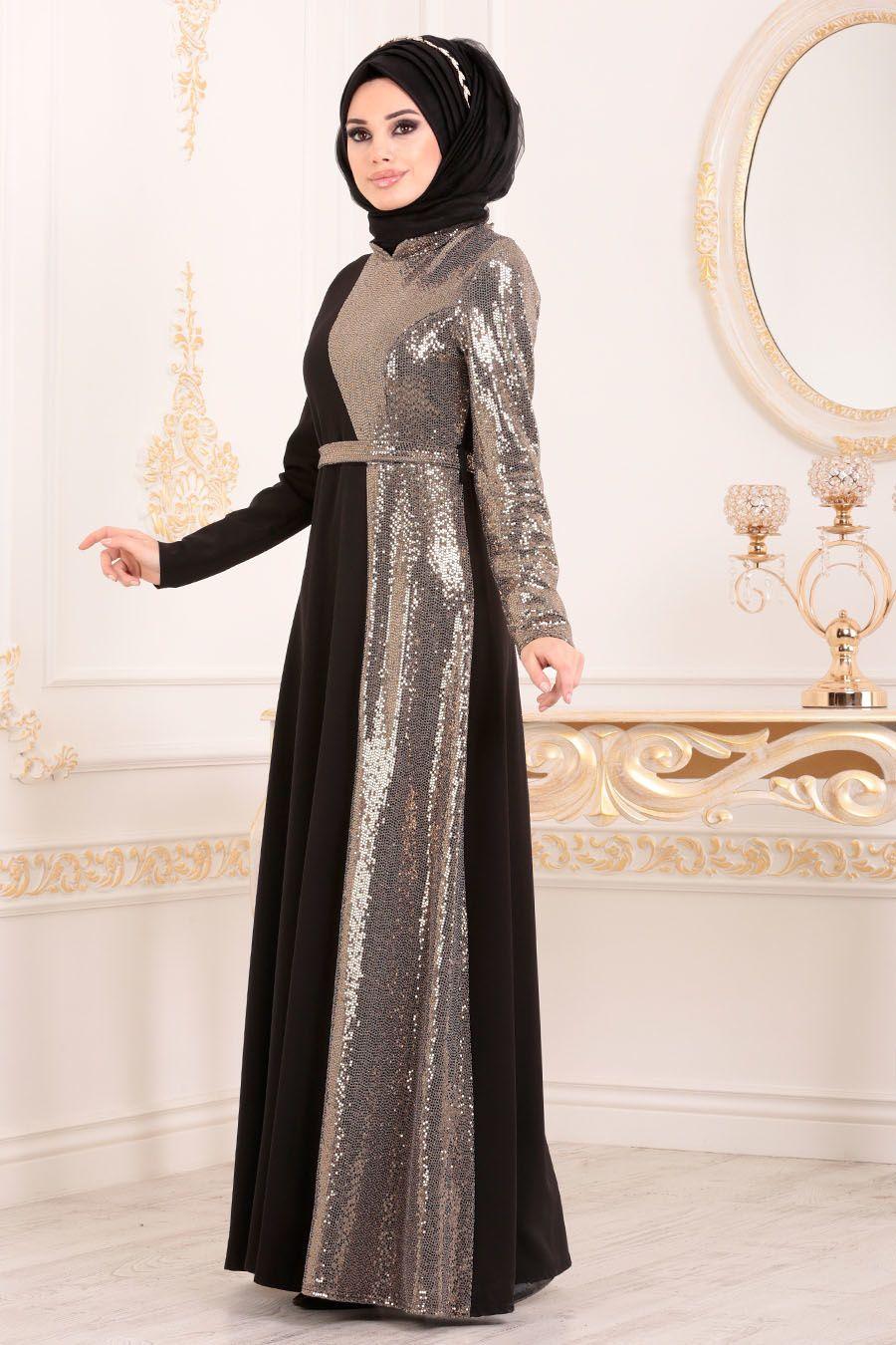 Tesetturlu Abiye Elbise Kemerli Gold Tesettur Abiye Elbise 1234gold Tesetturisland Com Siyah Abiye Abaya Tarzi Elbise