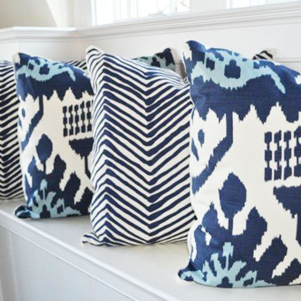 Throw Pillow Fabric Ideas : blue and white pillows Fabric Pinterest White pillows and Pillows