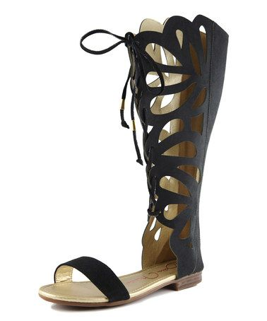 Look at this #zulilyfind! Black Faux Suede Medium Fantacy Gladiator Sandal by Bella Marie #zulilyfinds