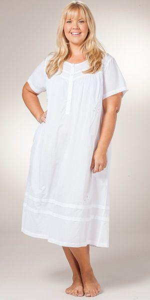 b0b3463ebc5 Plus La Cera Short Sleeve Cotton Mid-Length Gown in Butterfly Dreams ...