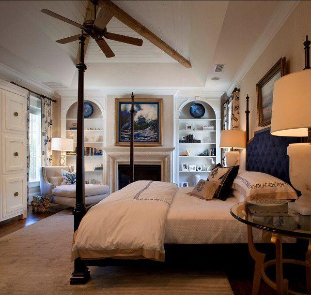 Hamptons Inspired Luxury Home Master Bedroom Robeson: Nautical Style Bedroom Ideas