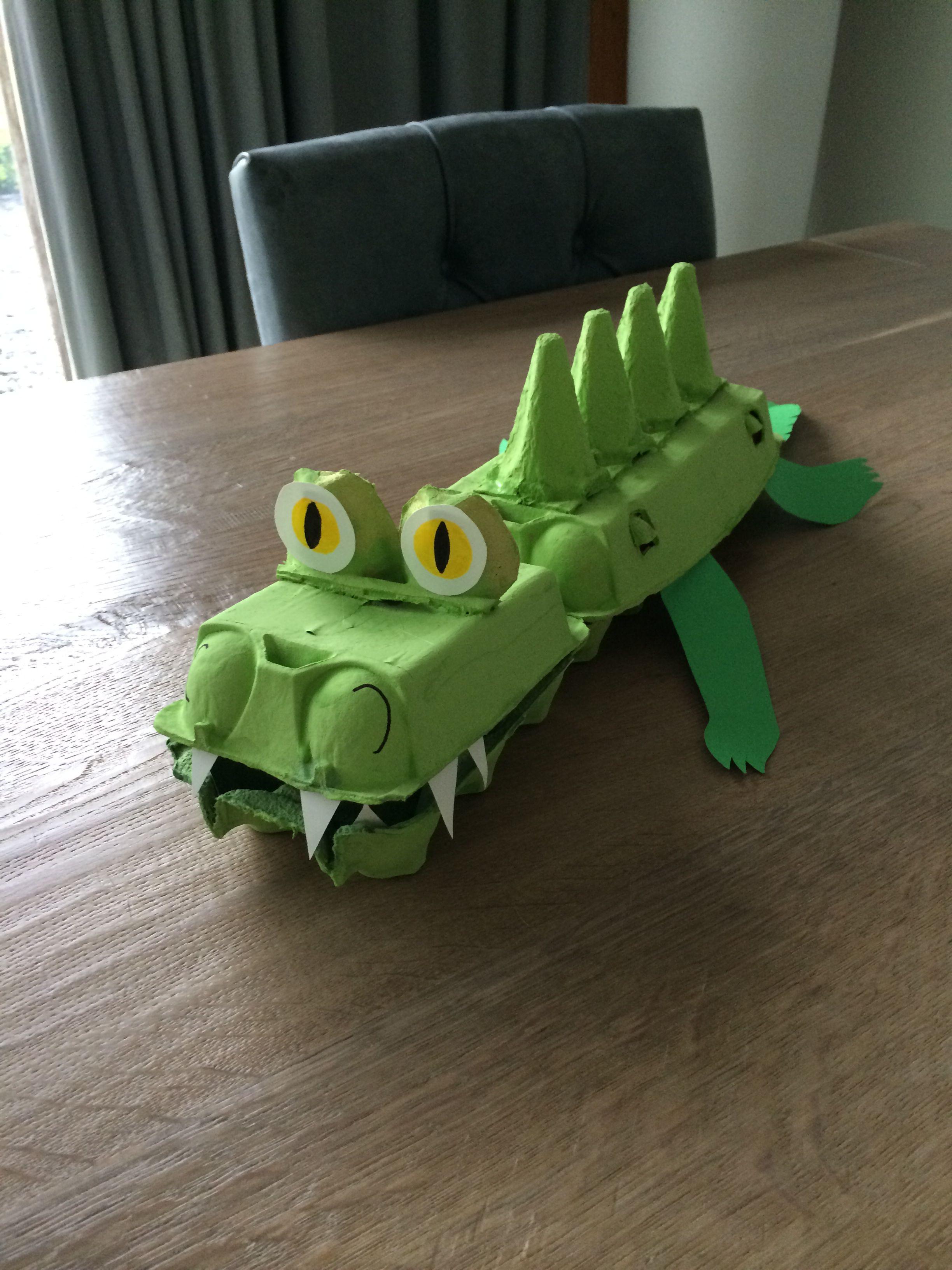 Krokodil van eierdozen // crocodile made of egg boxes | Home made ...