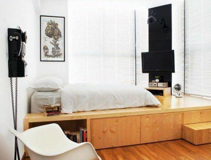 Dcoration Chambre Adulte Avec Lit Sur PlateForme Et Chaise