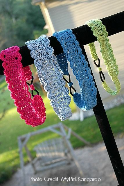 Thread headband -FREE Pattern by Myhobbyiscrochet via Ravelry Photo Credit: MyPinkKangaroo