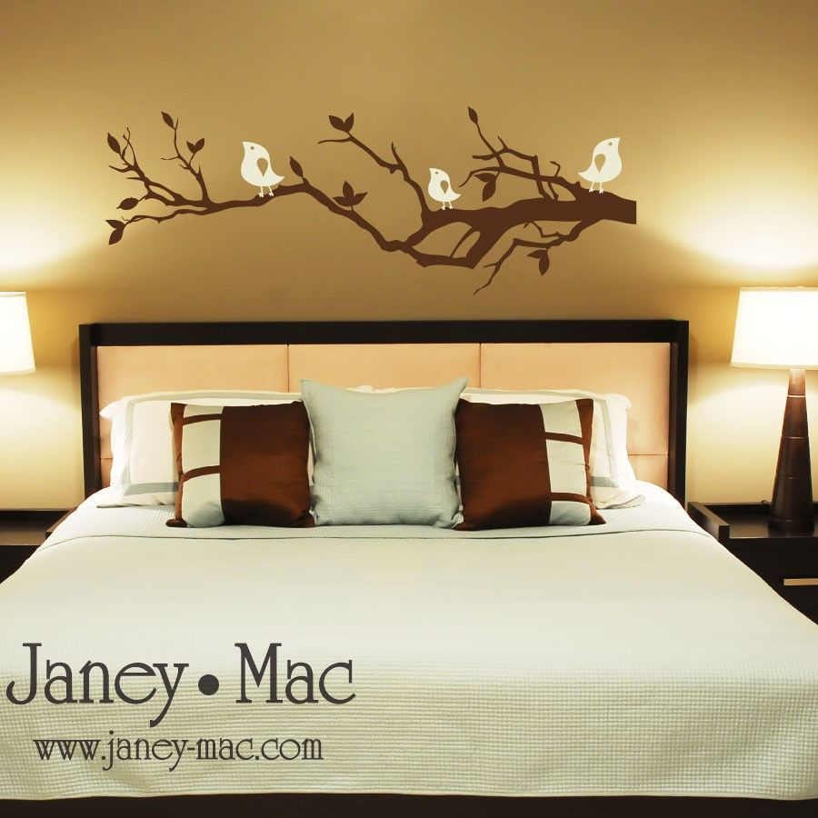 Tree branch wall decal with birds bedroom living room vinyl wall