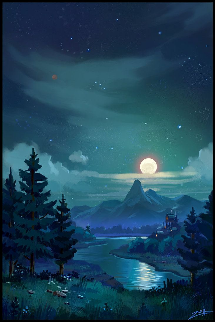 Night By Zoriy On Deviantart Scenery Wallpaper Anime Scenery Landscape Art