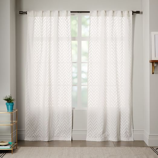 Semi Sheer Chevron Curtain White Chevron Curtains White Curtains Curtains