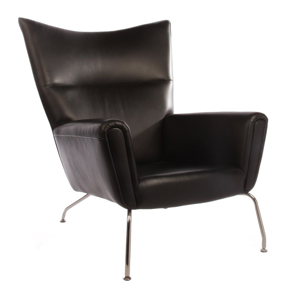 Hans Wegner Wing Chair Replica In Leather   Lobby Lust Commercial  Furniture  $1408