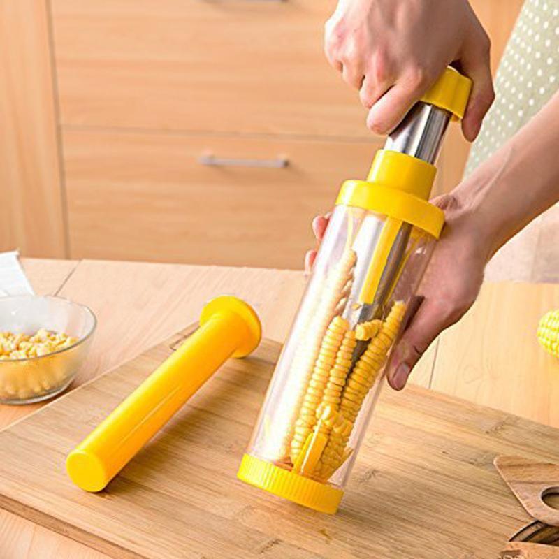 Kitchen Corn Cob Stripper Cutter Peeler Thresher Remover Stainless Steel Tool
