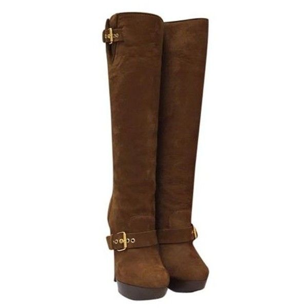 f9d43fdc086f Pre-Owned Christian Louboutin Harletty 140 Calf Nabuck Tobacco Boots ( 949)  ❤ liked