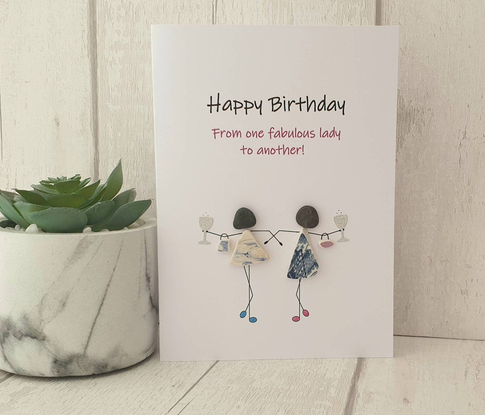 Best Friend Birthday Pebble Art Card Unique Handmade Card For Etsy Cool Birthday Cards Birthday Cards Handmade Birthday Cards