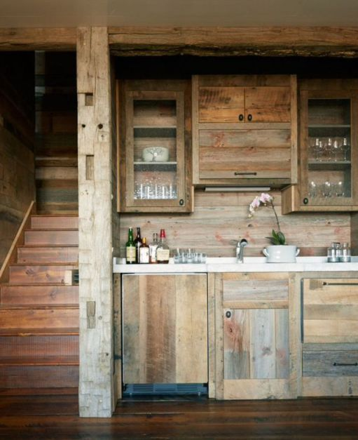 Favorite Rustic Raw Wood Kitchens