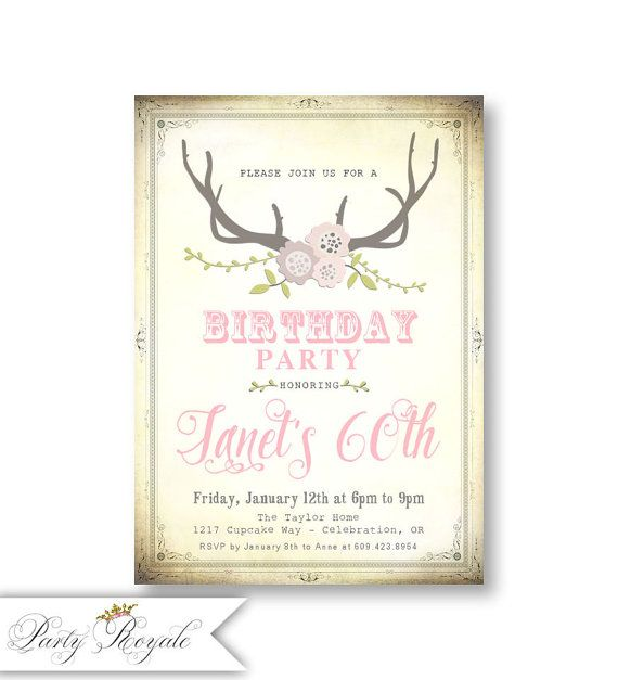 Woodland 60th Birthday Invitations for Women / by PartyRoyale