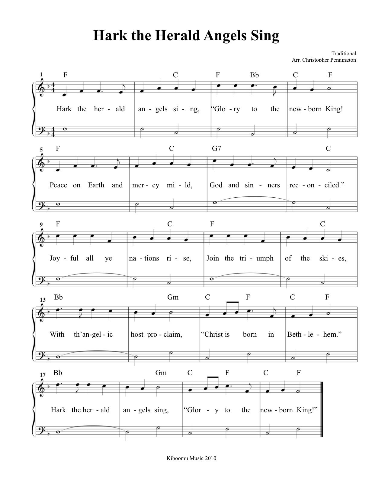 Hark The Herald Angels Sing Sheet Music and Christmas Song for ...