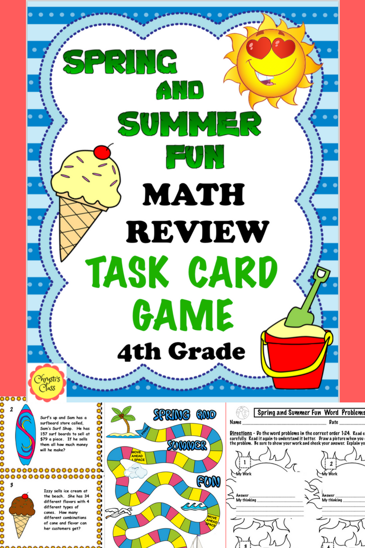 End of the Year Math Review: Spring and Summer Theme: 4th Grade