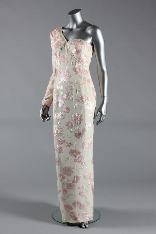Catherine Walker pink sequined ivory crepe gown with asymmetrical neckline, worn at banquet given by Pres. Dollor @ Itamaraty Palace on State vis Cit to Brazil, April 1991.
