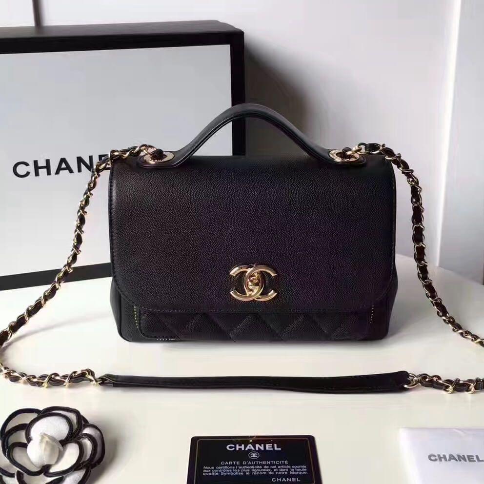 0c700433cc42 Chanel Grained Calfskin Business Affinity Medium Top Handle Bag A93607 Black  2017