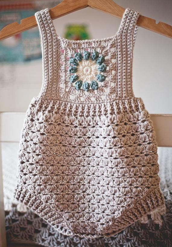 Photo of Crochet PATTERN – Granny Square Romper (sizes 0-3, 6-9, 12-18 months) (English only)