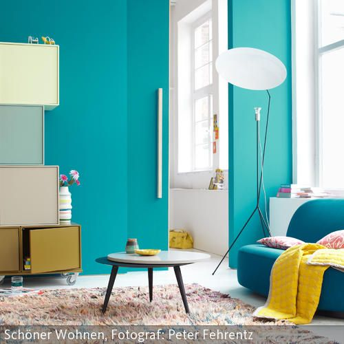 kleine farbenlehre wandfarbe t rkis turquoise pinterest wandfarben kombinieren. Black Bedroom Furniture Sets. Home Design Ideas
