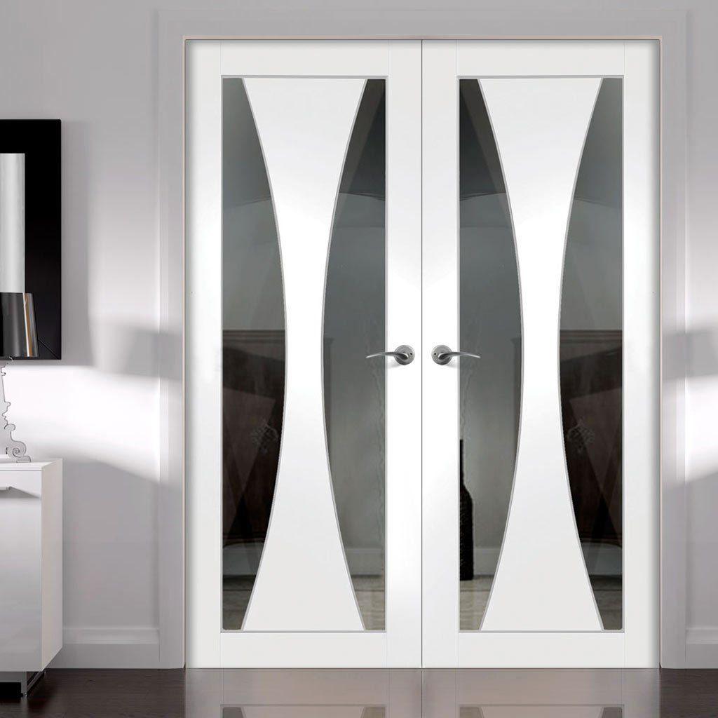 Simpli Double Door Set Verona Door Clear Safe Glass Primed  # Muebles Seys Verona