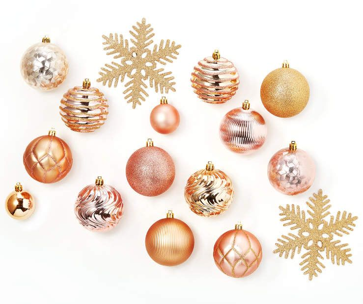 Pink Champagne Gold Snowflake Shatterproof Ornaments 24 Pack At