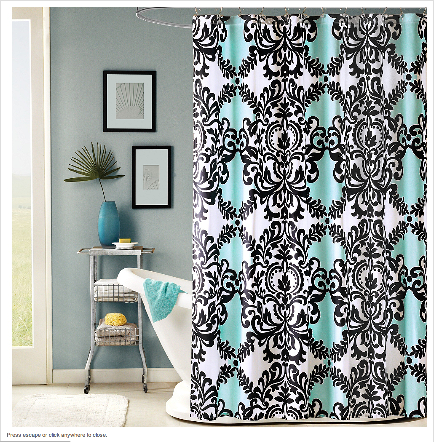 grey and navy shower curtain. Love the Black  White and Teal Shower Curtain Home Pinterest