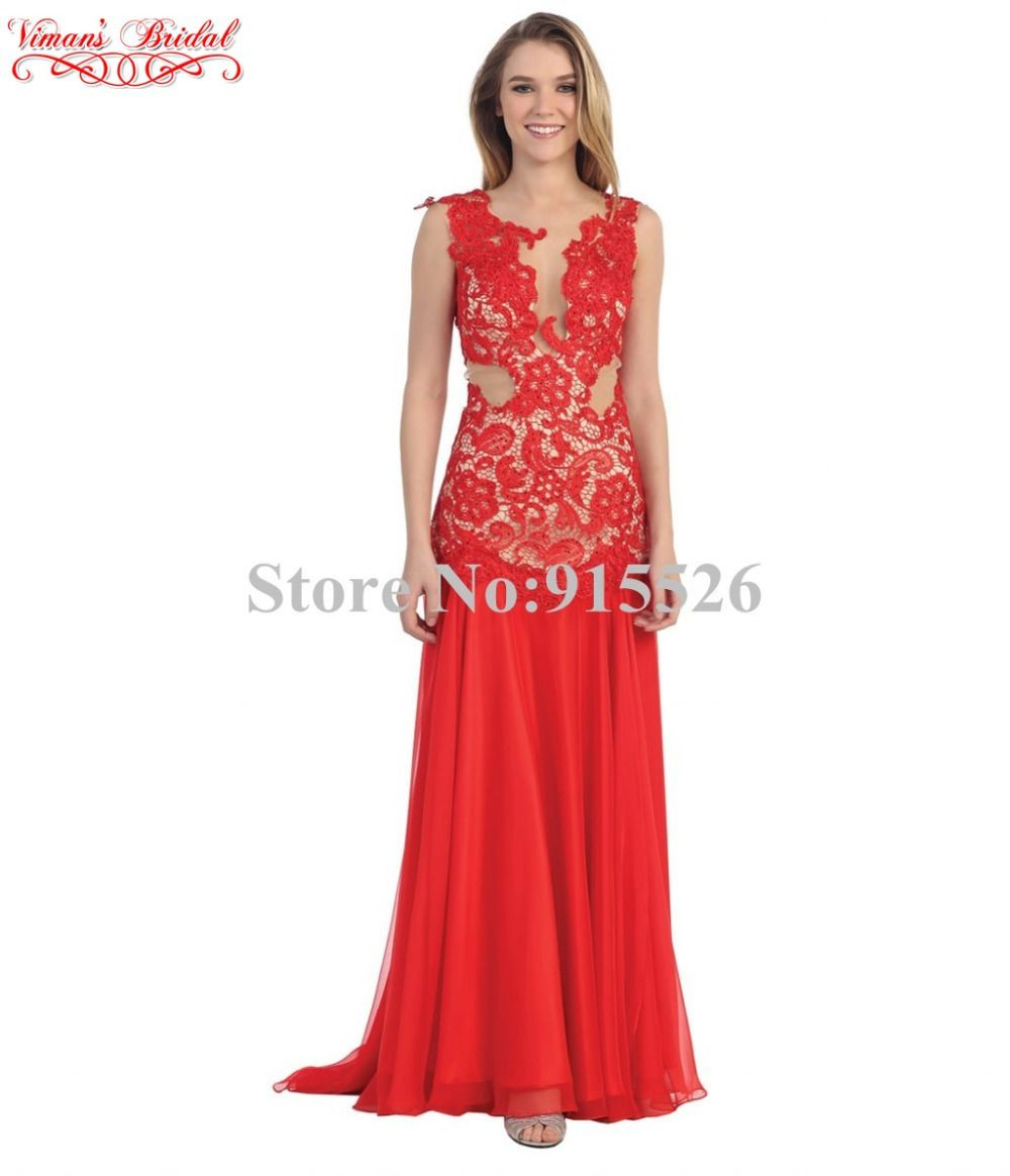 Click to buy ucuc long lace evening dress appliques scoop sleeveless