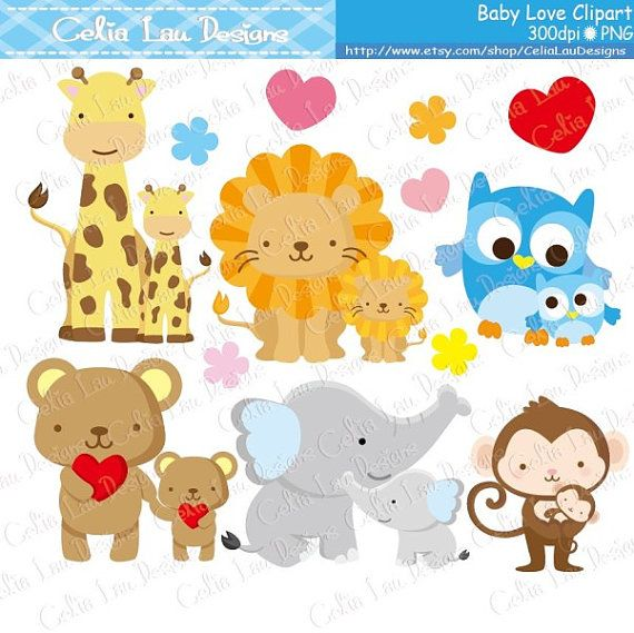 Baby Animals Clipart Baby Love Clipart Dad And Baby Mom Etsy In 2021 Baby Clip Art Mom And Baby Elephant Clip Art